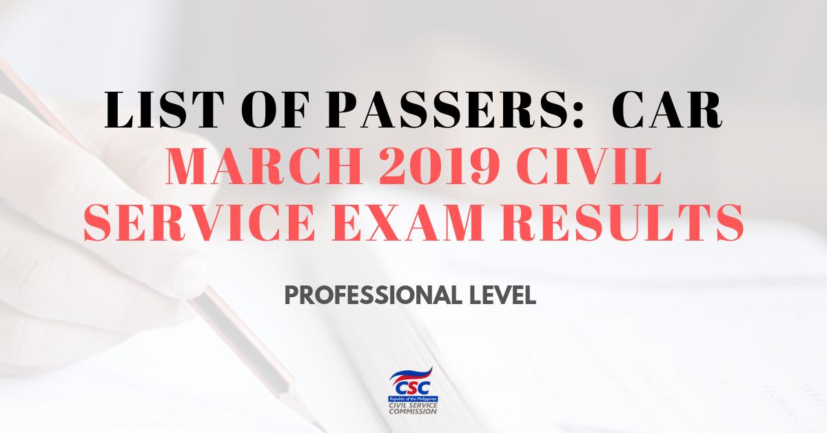 List of Passers_ CAR March 2019 Civil Service Exam pro