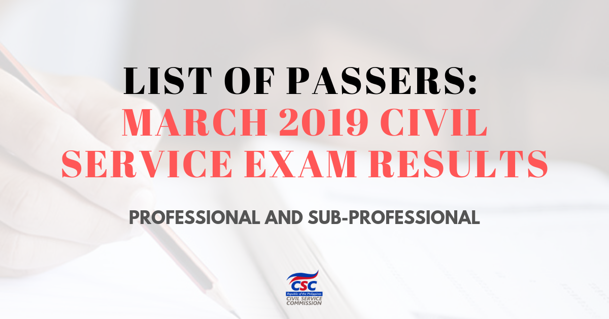 List of Passers_ March 2019 Civil Service Exam Results