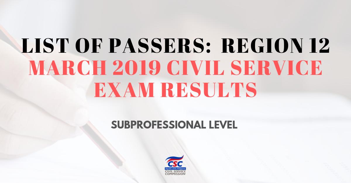 List of Passers_ region 12 March 2019 Civil Service subpro