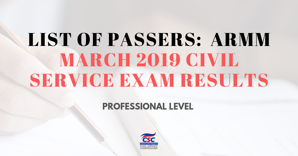 List of Passers_ARMM March 2019 Civil Service Exam pro