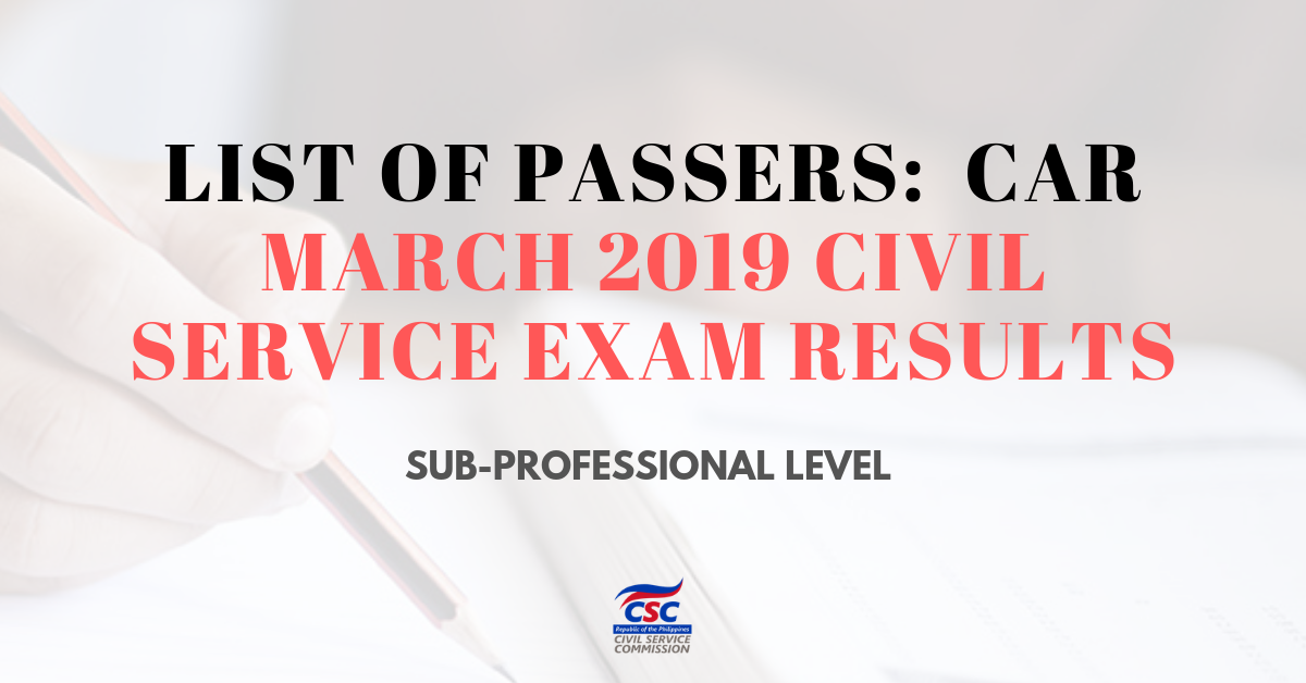 List of Passers_CAR March 2019 Civil Service Exam Sub-pro