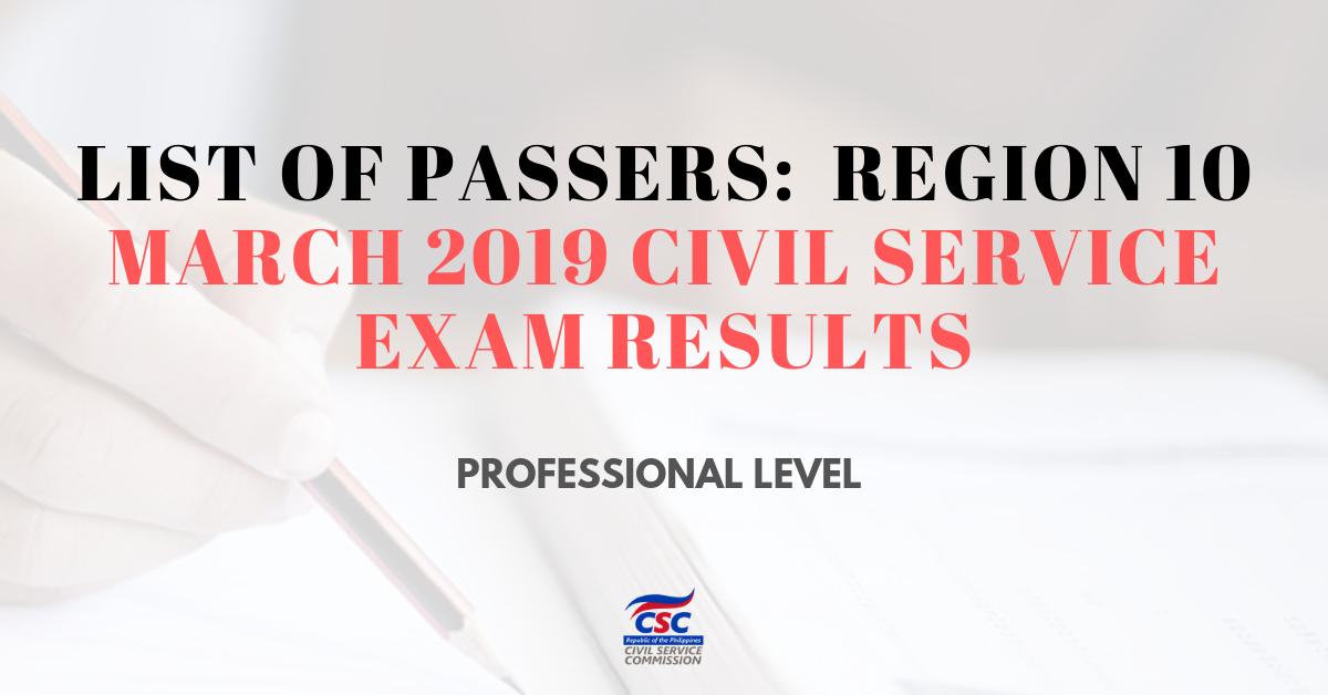 List of Passers_region 10 March 2019 Civil Service Exam pro