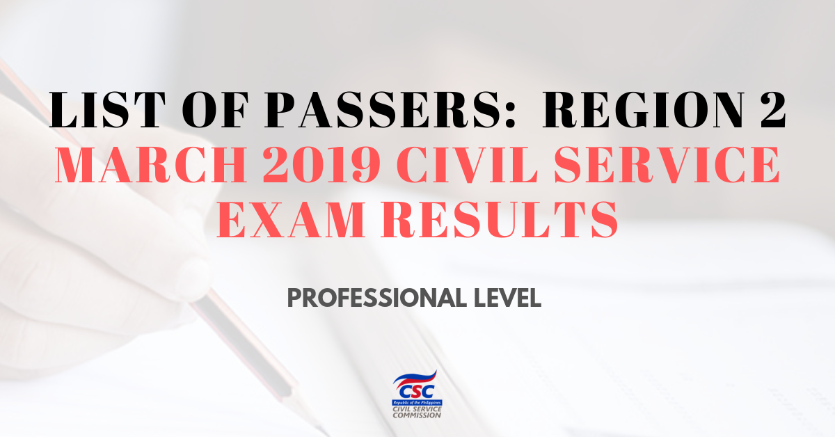 List of Passers_region 2 March 2019 Civil Service Exam pro