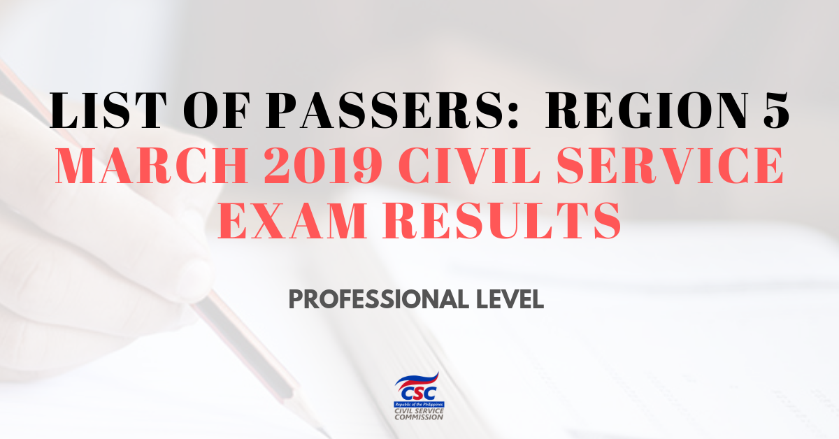 List of Passers_region 5 March 2019 Civil Service Exam pro