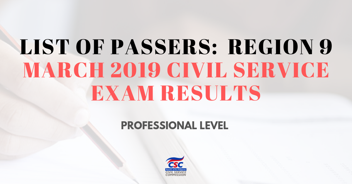 List of Passers_region 9 March 2019 Civil Service Exam Results (pro)