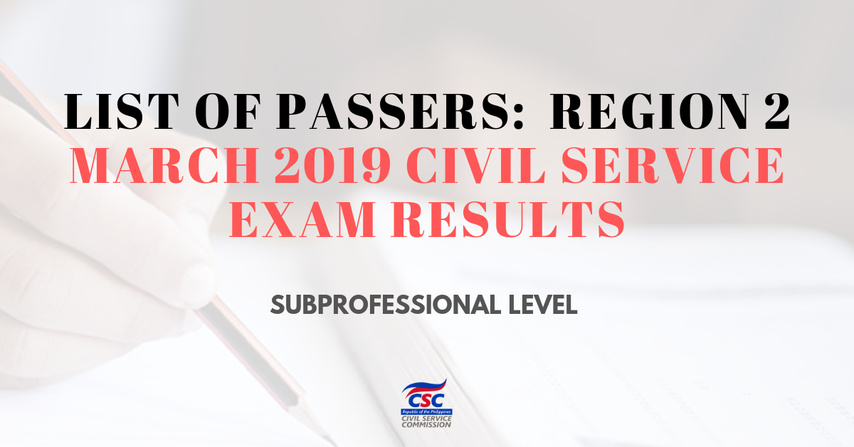 List of Passers_region2 March 2019 Civil Service Exam subpro