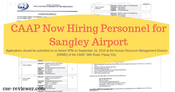 CAAP Now Hiring Personnel for Sangley Airport